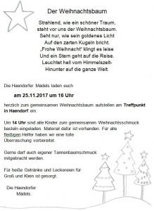 weihnachtsbaum schm cken und aufstellen am sch tzenverein haendorf e v von 1897. Black Bedroom Furniture Sets. Home Design Ideas